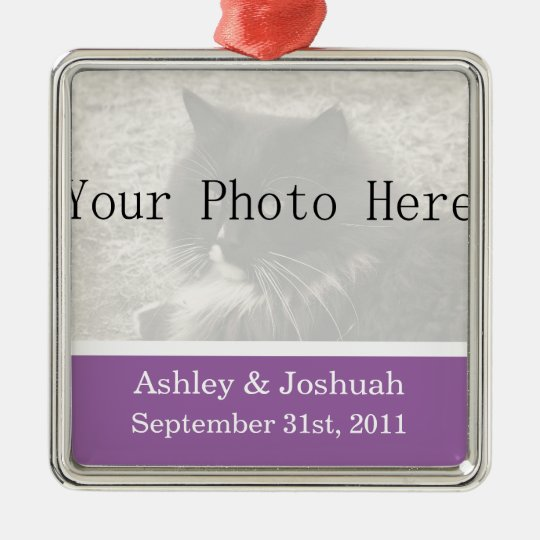 Fun Purple Your Photo Wedding Names Ornament