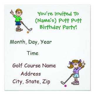 "Fun Putt Putt Golf Birthday Party Invitations 5.25"" Square Invitation Card"