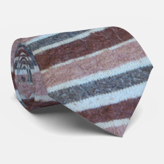 fun quirky knitted brown and beige stripes design tie