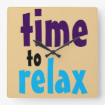 Fun Quote Colorful Words time to relax Large Square Wall Clock