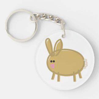 Fun Rabbit on White Keychain
