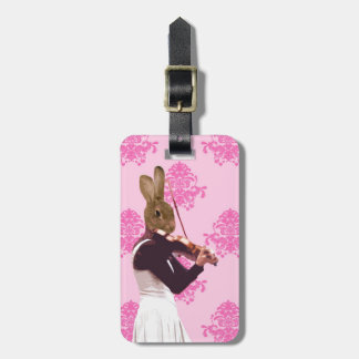 Fun rabbit playing violin bag tag