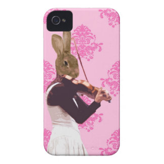 Fun rabbit playing violin iPhone 4 Case-Mate cases