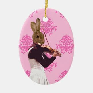 Fun rabbit playing violin ceramic ornament