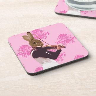 Fun rabbit playing violin coaster