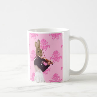 Fun rabbit playing violin coffee mug