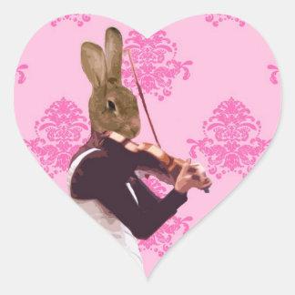 Fun rabbit playing violin heart sticker