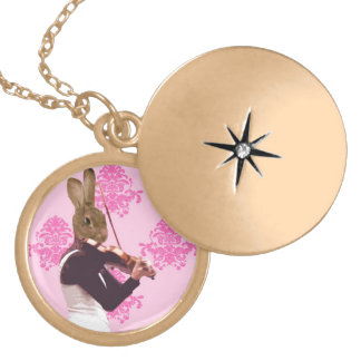 Fun rabbit playing violin locket necklace