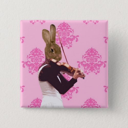 Fun Rabbit Playing Violin 2-inch Square Button