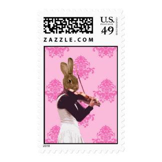 Fun rabbit playing violin postage stamp