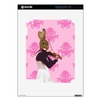 Fun rabbit playing violin skins for iPad 2