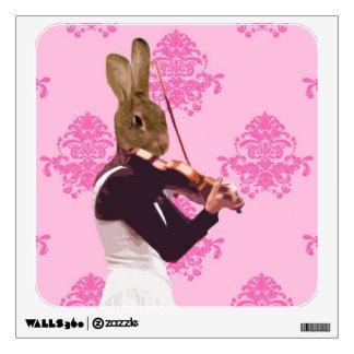 Fun rabbit playing violin wall decal