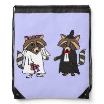 Fun Raccoon Bride and Groom Wedding Art Drawstring Backpack