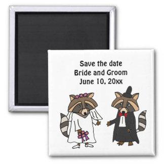 Fun Raccoon Bride and Groom Wedding Art Magnets