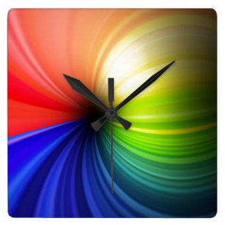 Fun Rainbow Art Square Wall Clocks