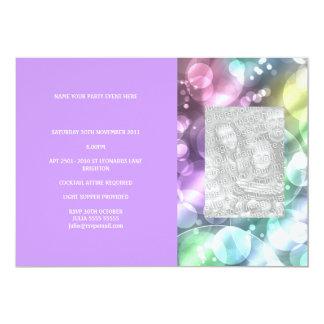 Fun Rainbow Bubbles Purple Photo Invite
