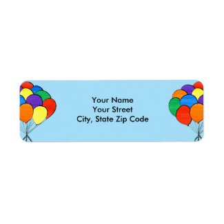 Fun Rainbow Colored Balloons return address labels
