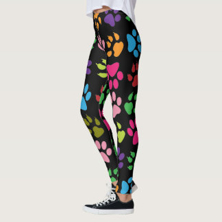 Fun Rainbow Colored Dog And Cat Paw Print Leggings