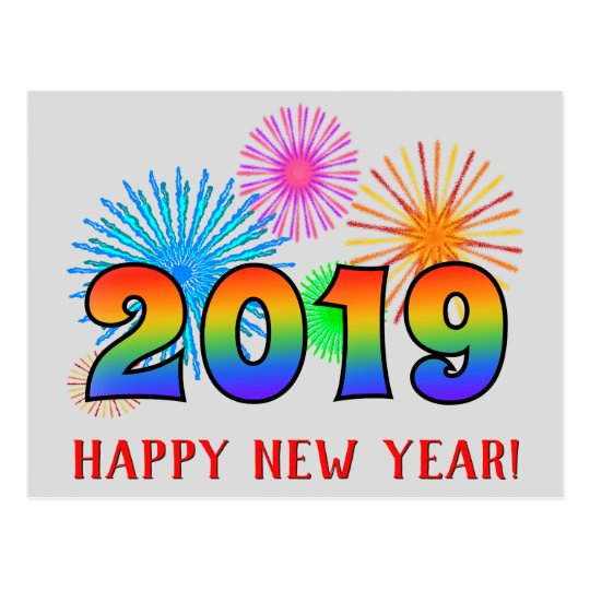 Fun rainbow colors 2019 happy new year postcard - Color for new year 2019 ...