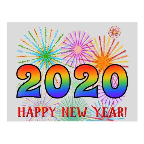 Fun Rainbow Colors 2020  HAPPY NEW YEAR Postcard