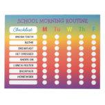 Fun Rainbow Daily Routine Checklist Notepad