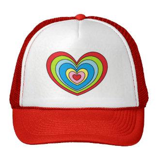 Fun Rainbow Heart Print Red and White Trucker Hat