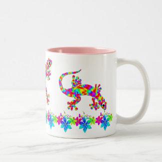 Fun Rainbow Salamander Mug with Bright Flowers