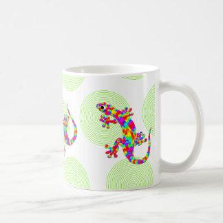 Fun Rainbow Salamander Mug with Green Circles