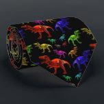 """Fun Rainbow T-Rexs Black Men&#39;s Tie<br><div class=""""desc"""">T-Rexs in various colours against a black background.</div>"""