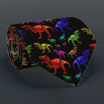 "Fun Rainbow T-Rexs Black Men&#39;s Tie<br><div class=""desc"">T-Rexs in various colours against a black background.</div>"
