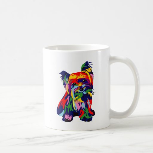 Fun Rainbow Yorkie Classic White Coffee Mug