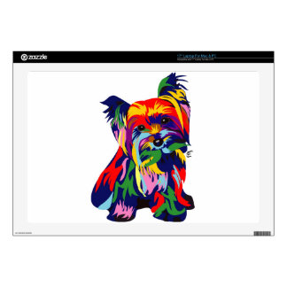 Fun Rainbow Yorkie Laptop Decal
