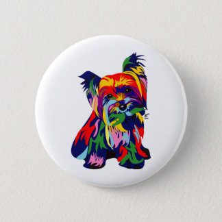 Fun Rainbow Yorkie Pinback Button
