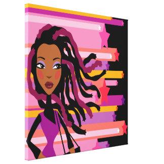 Fun Rasta Girl Wrapped Canvas
