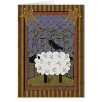 Fun Raven and Sheep Country Scene - Blank Inside Card