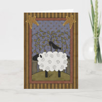 Fun Raven and Sheep Country Scene - Blank Inside Holiday Card