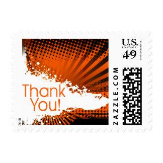 Fun Rays Ripped Grunge Splatter | orange Postage Stamp