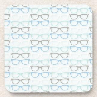 Fun Reading Glasses Pattern on Blue Coaster