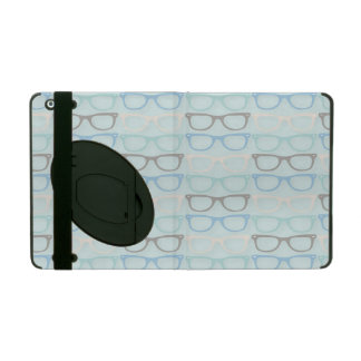 Fun Reading Glasses Pattern on Blue iPad Folio Case