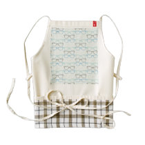 Fun Reading Glasses Pattern on Blue Zazzle HEART Apron