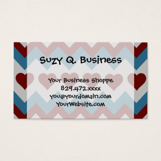 Fun Red and Blue Hearts Chevron Pattern Business Card