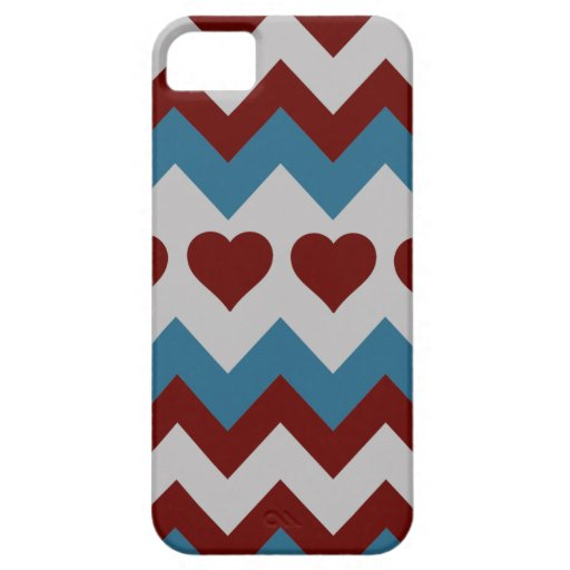 Fun Red and Blue Hearts Chevron Pattern iPhone 5 Covers