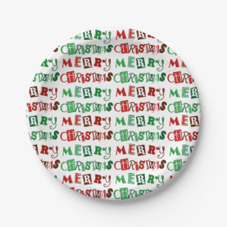 Fun Red and Green Merry Christmas Paper Plate
