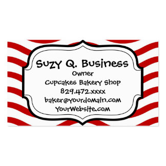 Fun Red and White Wavy Lines Stripes Pattern Gifts Business Card