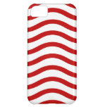 Fun Red and White Wavy Lines Stripes Pattern Gifts Cover For iPhone 5C