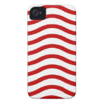 Fun Red and White Wavy Lines Stripes Pattern Gifts Case-Mate iPhone 4 Case