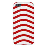 Fun Red and White Wavy Lines Stripes Pattern Gifts Case For iPhone 5