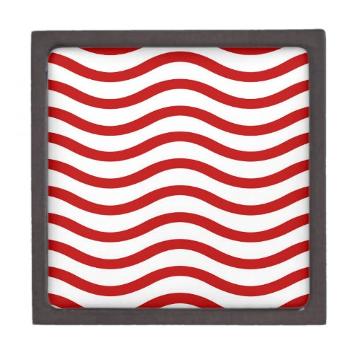 Fun Red and White Wavy Lines Stripes Pattern Gifts Premium Keepsake Boxes