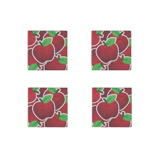 Fun Red Apples Fruit Design Stone Magnet