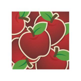 Fun Red Apples Fruit Design Wood Wall Art
